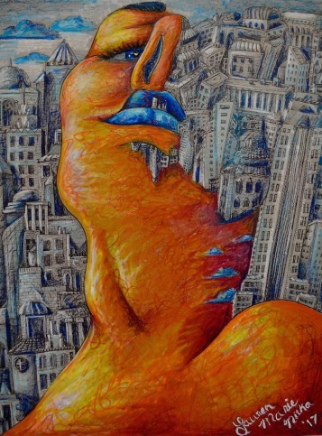 """Cityscape Portrait, 2017 Oil pastel and ink on paper, 18"""" by 24"""" framed $600"""