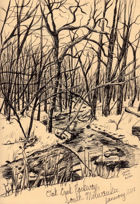 "Oak Creek Parkway, 2018 Ink on paper, 8"" x 6"" NFS"